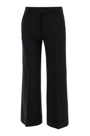 Crop trousers with belt loops at the waist
