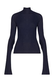 Navy blue funnel neck sweater