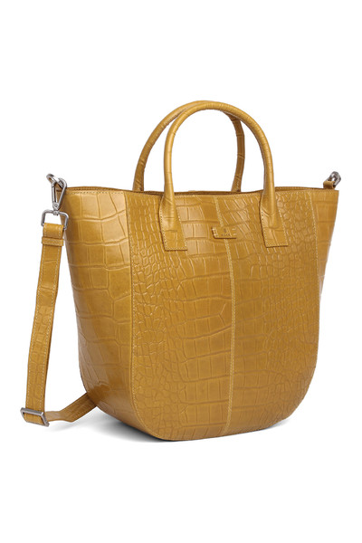 Mustard Teramo Line Leather Shopper With Handle | Adax Torby Duże