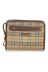 Pre-owned Haymarket Check Canvas Clutch Bag Fabric
