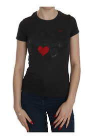 Hearts Print Short Sleeve Casual Top