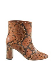 Snake Printed Cut Out Leather Booties