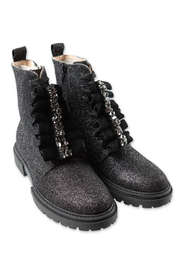 Glittery boots with decorative buckle