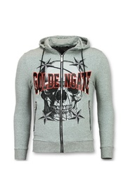Men's cardigan with hood F-579Z- gray