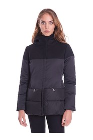 SHORT DOWN JACKET WITH HOOD AND WOOL APPLICATIONS