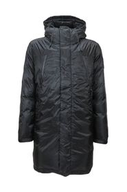 Long winter down jacket with hood