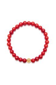 Women's Wristband with Red Vintage Trifocal Bead and Gold