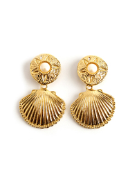 Large shell clip on earrings