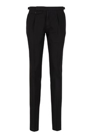 Linen and cotton slim fit trousers
