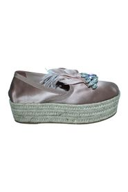 Pink Satin Espadrilles with Crystals