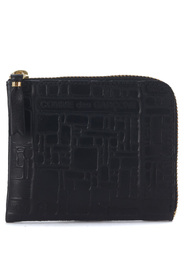 Black leather wallet with pattern
