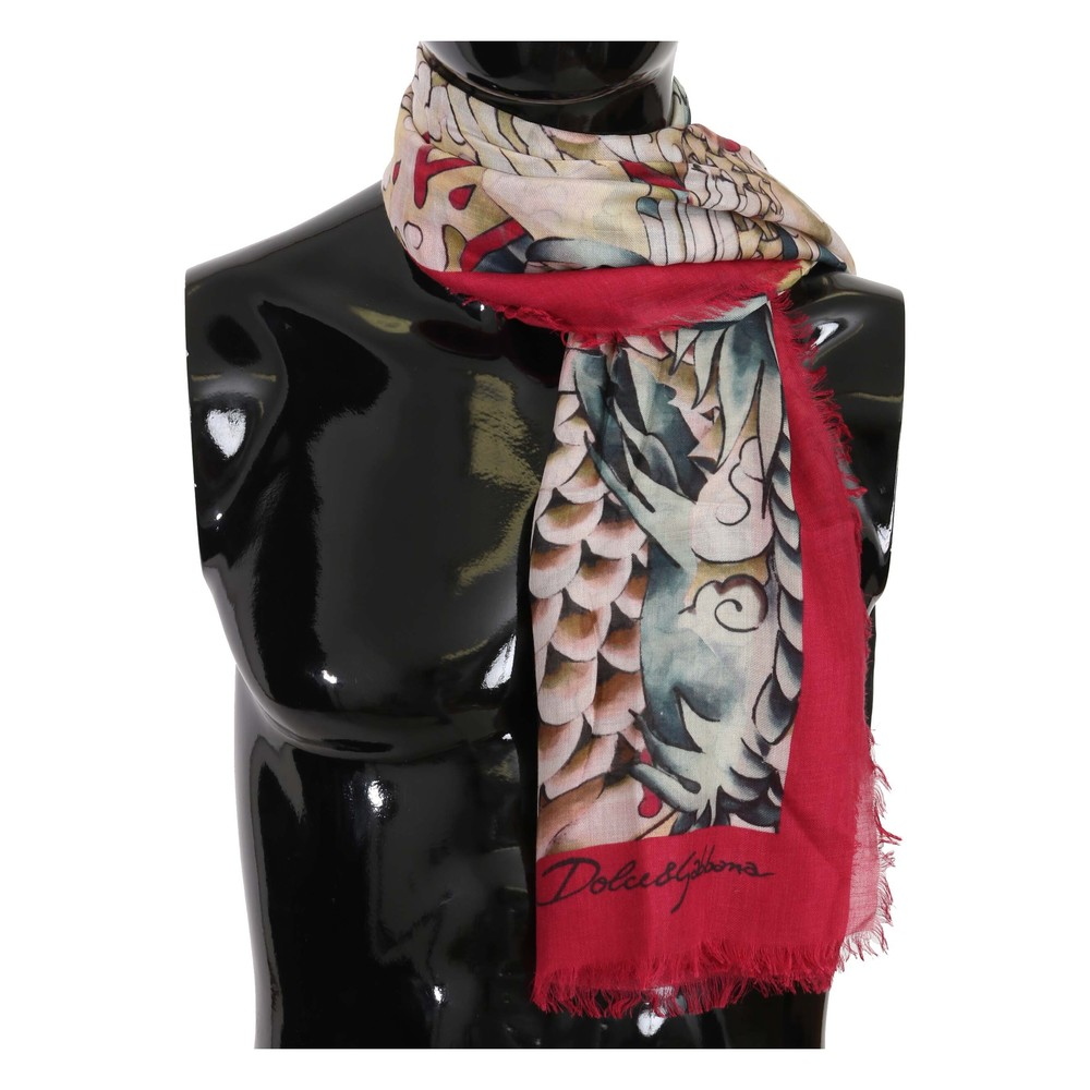 Red Japanese Dragon Print Wrap Scarf | Dolce  Gabbana | Sjaals | Heren accessoires