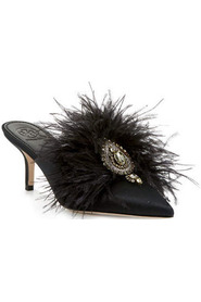 Elodie 65Mm Mule Satin Feather Embellishment