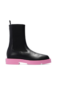 Leather ankle boots with logo