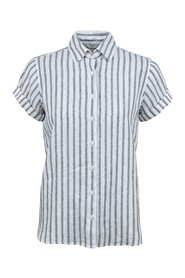 Striped short sleeved linen shirt