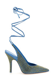 wrap around slingback pumps with venus crystals