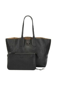 Leather Tote Bag with Pouch Black