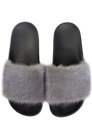 MINK FUR SLIPPERS GREY