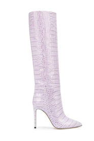 Knee high shoes with crocodile effect