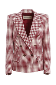 Houndstooth patterned double-breasted blazer