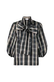 Bow-embellished checked blouse