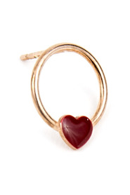 MONO EARRING CIRCLE WITH ENAMELLED HEART