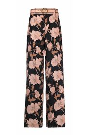 belted peonies-print trousers
