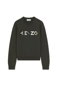 Embroidered-logo wool jumper