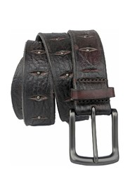 LEATHER BELT WITH METALLIC APPLIQUES