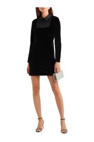 Velvet mini dress with satin trim