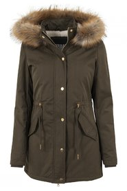 Ladies Sherpa Lined Peached Parka Vinterjakke | Oliven