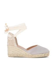 Carina wedge sandal in gray and dove gray canvas and jute