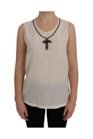 Silk Black Crystal Cross Blouse