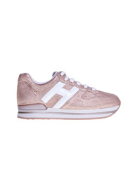 H222 sneaker in tumbled laminated leather with satin effect