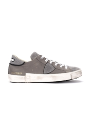 Sneaker Paris X in pelle e crosta grigia