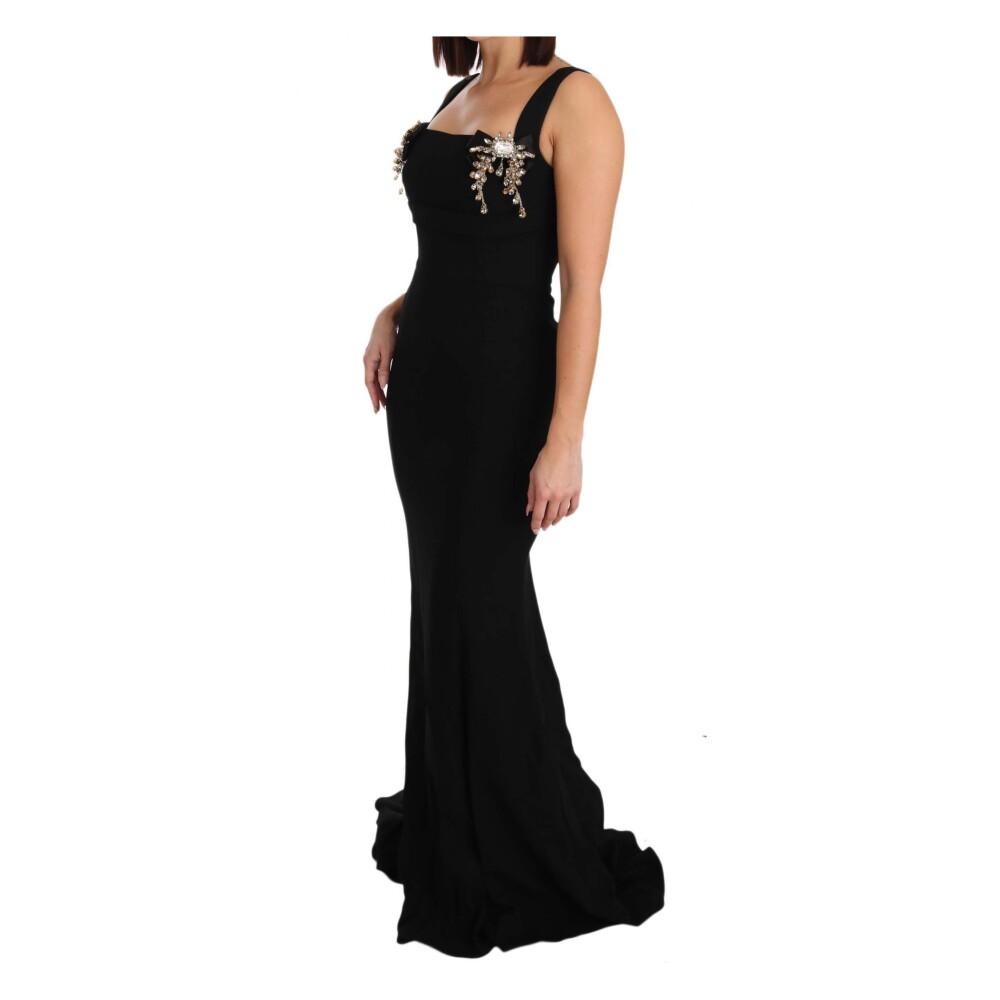 Dolce & Gabbana Black Stretch Crystal Fit Flare Gown Dress Dolce & Gabbana