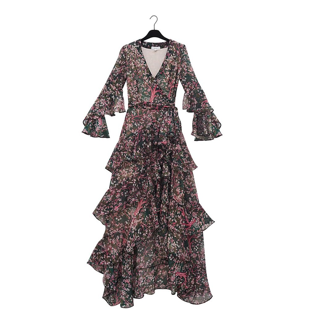 NARMIN Long Eden`s Garden Print Chiffon Dress