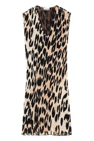 Leopard Georgette Pleated Kjole