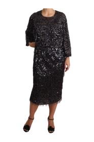 Sequined Long Sleeve Shift Midi Dress