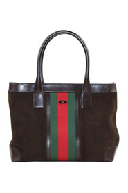 Web Suede Tote Bag Leather