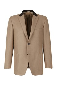 Herringbone camel leather jacket