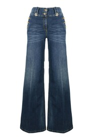 High waist jeans with gold buttons