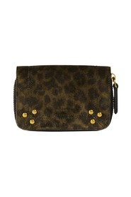 Henri split leather leopard pattern coin purse