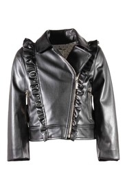 Faux leather jacket with ruffled details