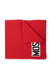 Rib-knit scarf with logo