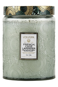 Large Embossed Glass Jar Candle - French Cade & Lavender Duftlys