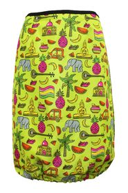 Neon Skirt with Thailand Graphic Print