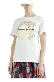 T-shirt with golden Medusa head and signature