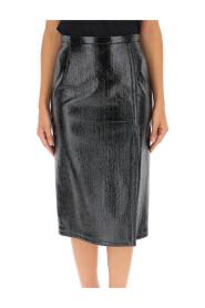 Crinkled-effect pencil skirt