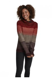 Ladies Multicolored High Neck Hoody | Red / Multicolor